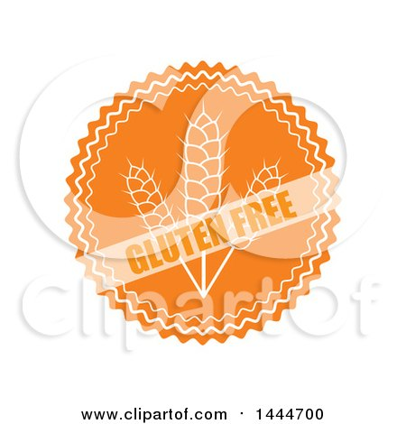 Clipart of a Round Orange and White Gluten Free Label - Royalty Free Vector Illustration by ColorMagic