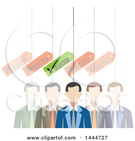 Clipart of a Line of Faded out White Business Men with One Selected - Royalty Free Vector Illustration by ColorMagic
