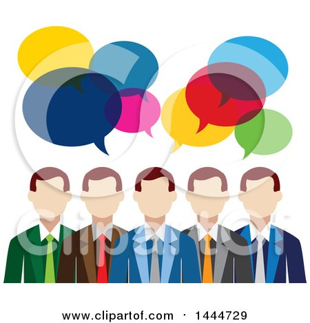 Clipart of a Line of White Business Men with Colorful Speech Balloons - Royalty Free Vector Illustration by ColorMagic