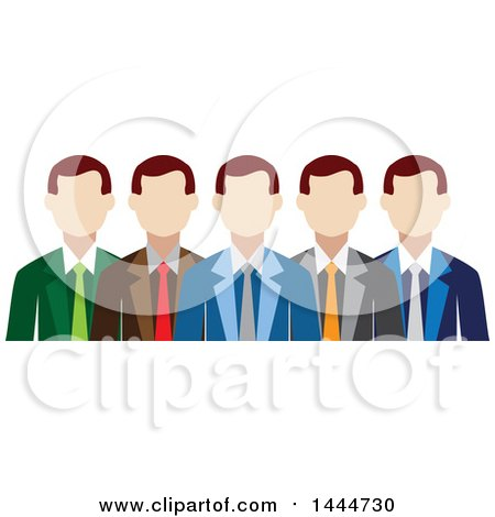 Clipart of a Line of White Business Men - Royalty Free Vector Illustration by ColorMagic