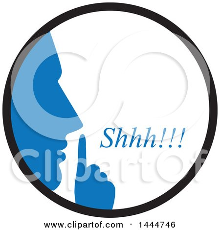Clipart of a Blue Silhouetted Man Shushing Inside a Circle - Royalty Free Vector Illustration by ColorMagic