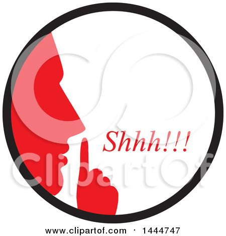 Clipart of a Red Silhouetted Man Shushing Inside a Circle - Royalty Free Vector Illustration by ColorMagic