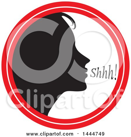 Clipart of a Black Silhouetted Woman Shushing Inside a Circle - Royalty Free Vector Illustration by ColorMagic
