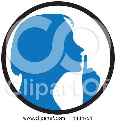Clipart of a Blue Silhouetted Woman Shushing Inside a Circle - Royalty Free Vector Illustration by ColorMagic