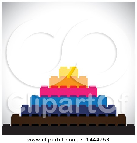 Clipart of a Pyramid of Building Blocks over Shading - Royalty Free Vector Illustration by ColorMagic
