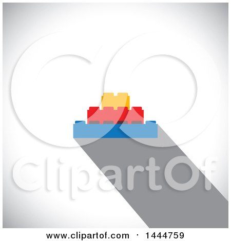 Clipart of Colorful Building Blocks over Shading - Royalty Free Vector Illustration by ColorMagic