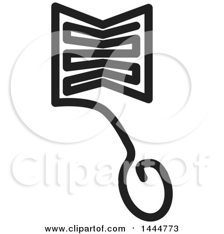 Clipart of a Black and White E Learning Icon of a Computer Mouse and Book - Royalty Free Vector Illustration by ColorMagic