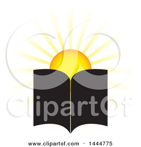 Clipart of a Sun and Open Book - Royalty Free Vector Illustration by ColorMagic