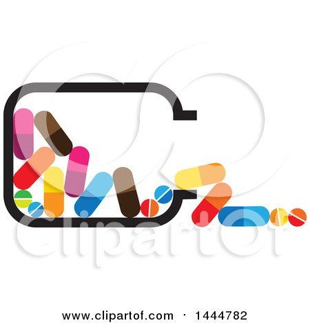 Clipart of a Spilled Bottle of Colorful Pills - Royalty Free Vector Illustration by ColorMagic