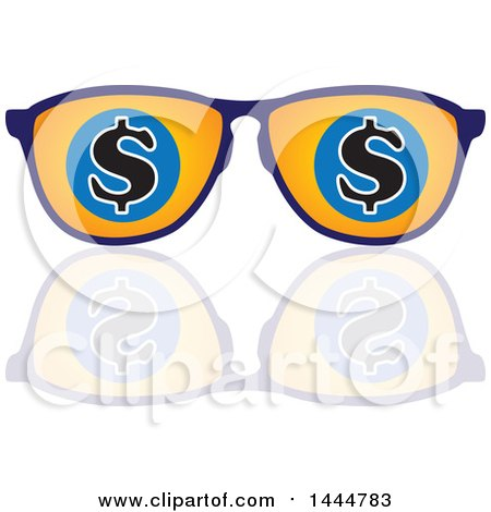 Clipart of a Pair of Sunglasses with Usd Dollar Currency Symbols and a Reflection - Royalty Free Vector Illustration by ColorMagic