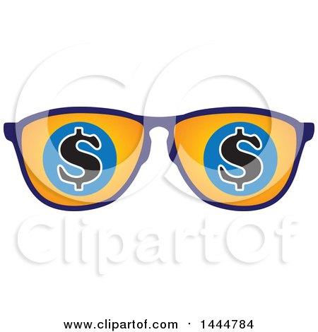 Clipart of a Pair of Sunglasses with Usd Dollar Currency Symbols - Royalty Free Vector Illustration by ColorMagic