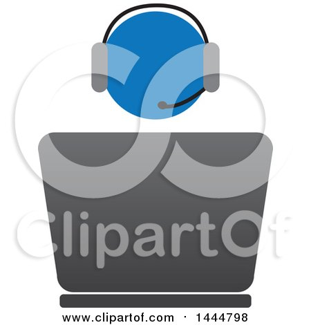 Clipart of a Blue Worker Wearing a Headset and Using a Laptop Computer - Royalty Free Vector Illustration by ColorMagic