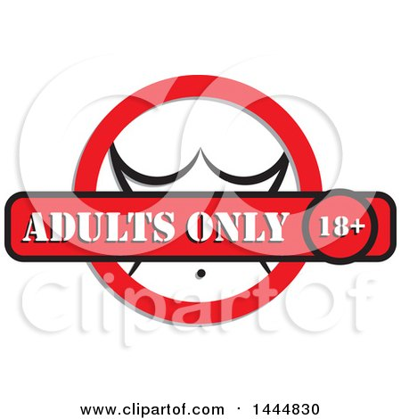 Clipart of a Womans Body in a Circle with an Adults Only Banner - Royalty Free Vector Illustration by ColorMagic