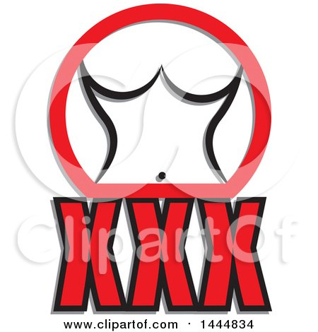 Clipart of a Nude Woman's Torso in a Red Partial Circle over XXX - Royalty Free Vector Illustration by ColorMagic