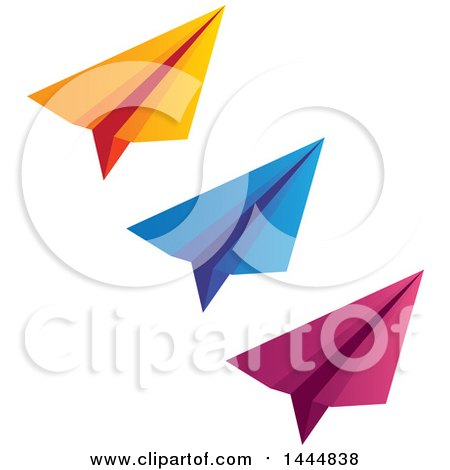 Clipart of a Trio of Orange Blue and Pink Paper Airplanes - Royalty Free Vector Illustration by ColorMagic