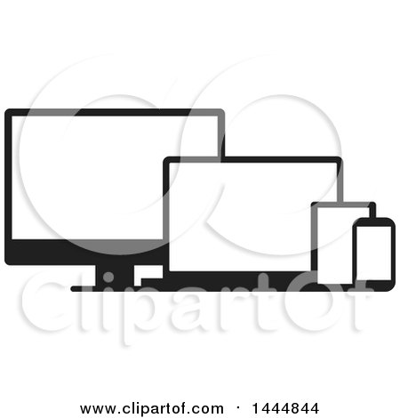 Clipart of Black and White Television, Laptop, Tablet and Cell Phone Screens - Royalty Free Vector Illustration by ColorMagic