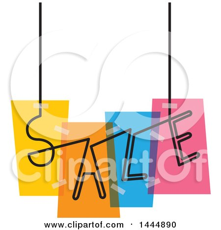 Clipart of a Colorful Suspended Sale Design - Royalty Free Vector Illustration by ColorMagic