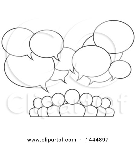 Clipart of a Gray Lineart Group of People Under Speech Balloons - Royalty Free Vector Illustration by ColorMagic