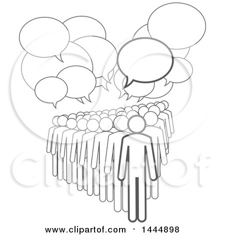 Clipart of a Gray Lineart Crowd Under Speech Balloons - Royalty Free Vector Illustration by ColorMagic