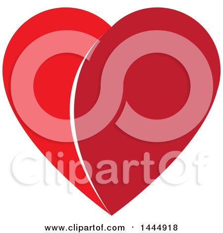 Clipart of a Two Toned Red Heart - Royalty Free Vector Illustration by ColorMagic
