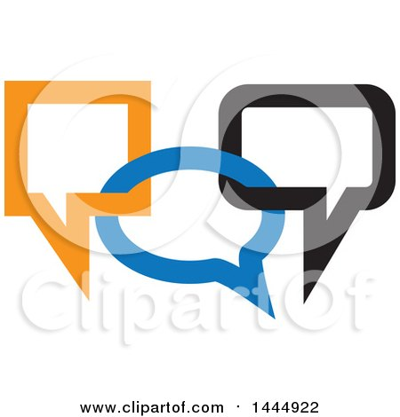 Clipart of Blue, Black and Orange Connected Speech Balloons - Royalty Free Vector Illustration by ColorMagic