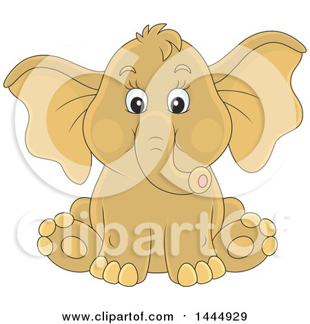 Clipart of a Cartoon Cute Baby Elephant Sitting - Royalty Free Vector Illustration by Alex Bannykh