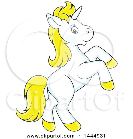 Clipart of a Cartoon Cute White and Yellow Unicorn Rearing - Royalty Free Vector Illustration by Alex Bannykh