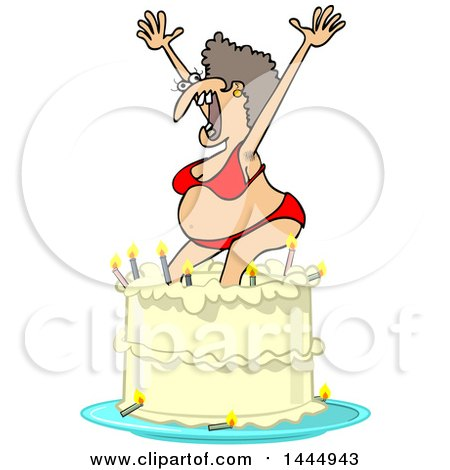 Clipart of a Cartoon Ugly White Woman in a Bikini, Popping out of a Birthday Cake - Royalty Free Vector Illustration by djart