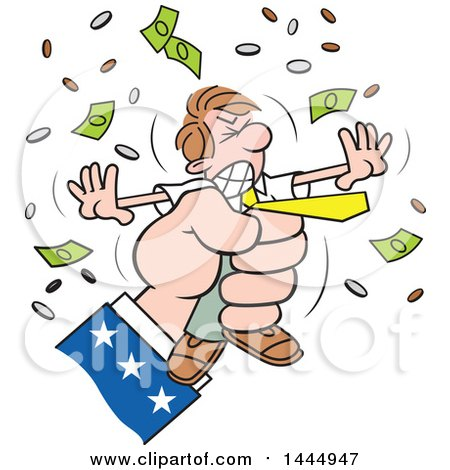 Clipart of a Cartoon Caucasian Business Man Being Squeezed by Uncle Sam's Hand - Royalty Free Vector Illustration by Johnny Sajem
