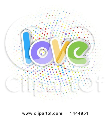 Clipart of a Colorful Word, Love, over a Circle of Polka Dots - Royalty Free Vector Illustration by KJ Pargeter
