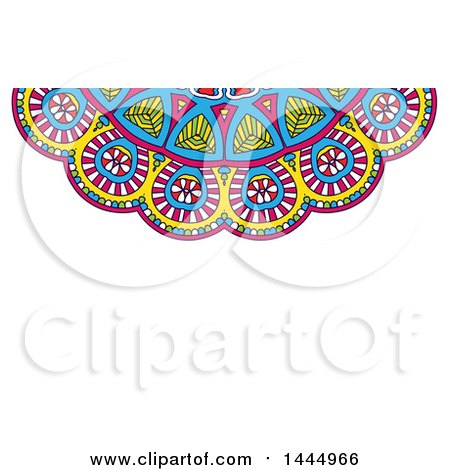 Clipart of a Colorful Mandala Background or Business Card Design on White - Royalty Free Vector Illustration by KJ Pargeter