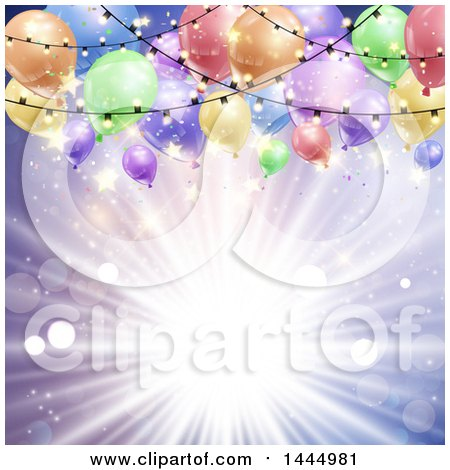 Clipart of a Purple Sun Burst Background with Lights and Colorful Party Balloons - Royalty Free Vector Illustration by KJ Pargeter