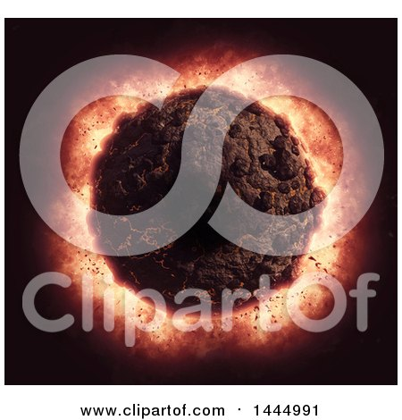 Clipart of a 3d Exploding Volcanic Planet - Royalty Free Illustration by KJ Pargeter
