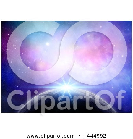 Clipart of a 3d Colorful Nebula and Sun Rising over a Planet - Royalty Free Illustration by KJ Pargeter
