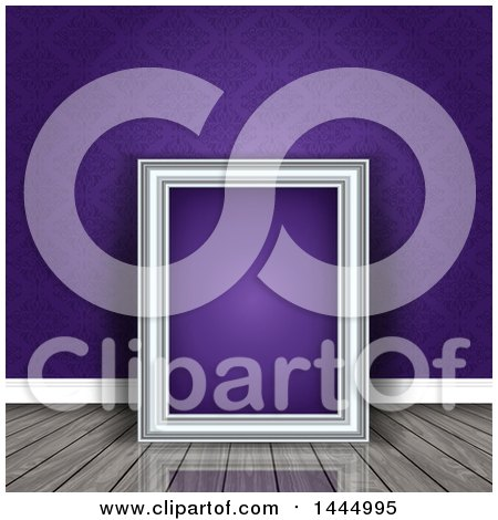Clipart of a 3d Blank Picture Frame Leaning Against a Wall with Purple Damask, Resting on a Shiny Wood Floor - Royalty Free Vector Illustration by KJ Pargeter