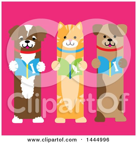 Clipart of a Cute Cat and Dogs Standing Upright and Reading Books, on a Pink Background - Royalty Free Vector Illustration by Maria Bell