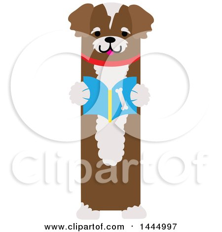 Clipart of a Cute Brown Dog Standing Upright and Reading a Book - Royalty Free Vector Illustration by Maria Bell