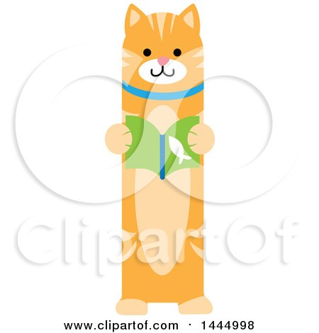 Clipart of a Cute Ginger Tabby Cat Standing Upright and Reading a Book - Royalty Free Vector Illustration by Maria Bell