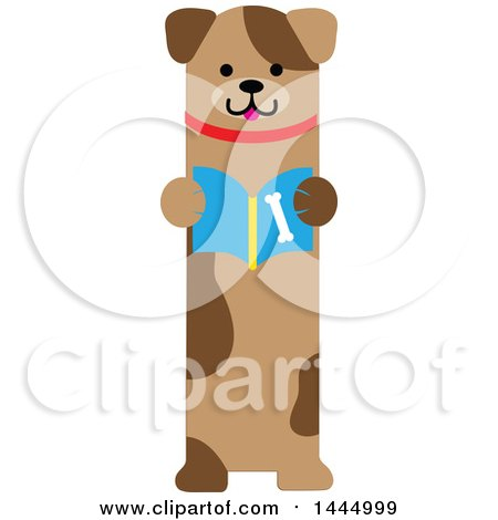 Clipart of a Cute Brown Puppy Dog Standing Upright and Reading a Book - Royalty Free Vector Illustration by Maria Bell