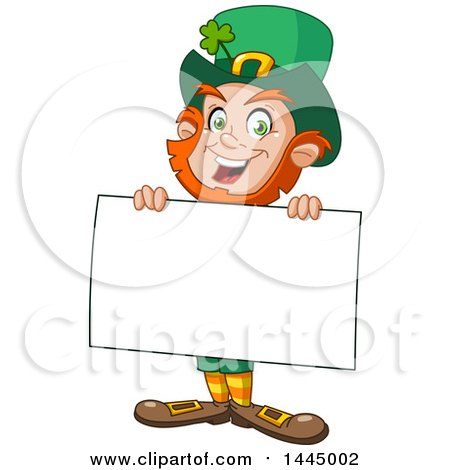 Clipart of a Cartoon Happy St Patricks Day Leprechaun Smiling and Holding a Blank Sign Board - Royalty Free Vector Illustration by yayayoyo