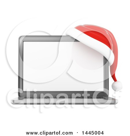 Clipart of a 3d Christmas Laptop Computer with a Santa Hat, on a White Background - Royalty Free Illustration by Texelart