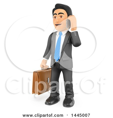 Clipart of a 3d Business Man Holding a Briefcase and Talking on a Cell Phone, on a White Background - Royalty Free Illustration by Texelart