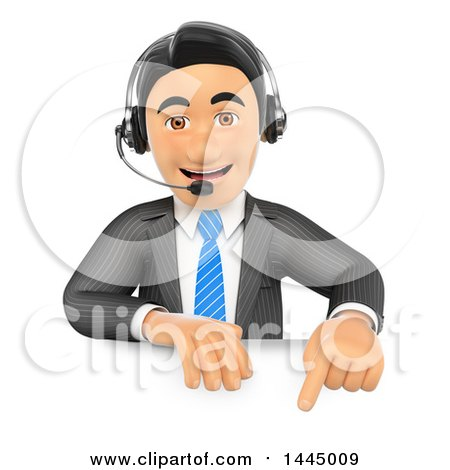 Clipart of a 3d Business Man Wearing a Headset and Pointing down over a Sign, on a White Background - Royalty Free Illustration by Texelart
