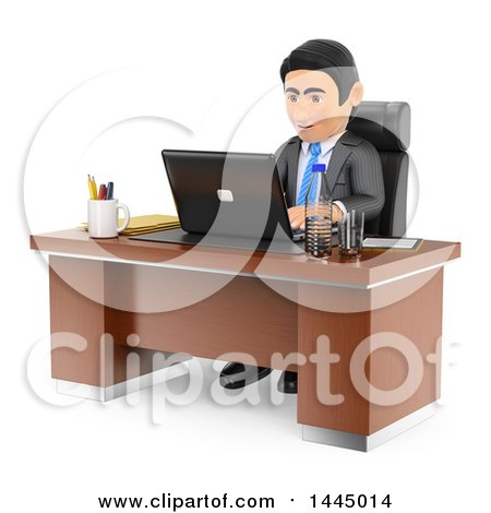 Clipart of a 3d Business Man Working on a Laptop at an Office Desk, on a White Background - Royalty Free Illustration by Texelart