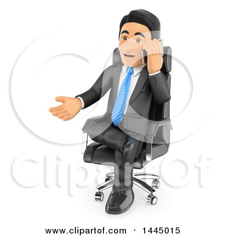 Clipart of a 3d Business Man Sitting in a Chair, Gesturing and Talking on a Cell Phone, on a White Background - Royalty Free Illustration by Texelart