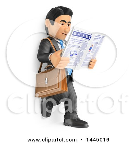 Clipart of a 3d Business Man Leaning Against a Wall and Reading a Newspaper, on a White Background - Royalty Free Illustration by Texelart