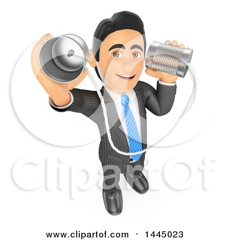 Clipart of a 3d Business Man Holding up and Talking Through Can Phones, on a White Background - Royalty Free Illustration by Texelart
