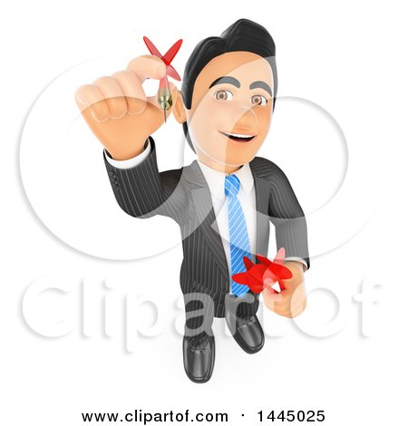 Clipart of a 3d Business Man Looking up and Aiming a Dart, on a White Background - Royalty Free Illustration by Texelart