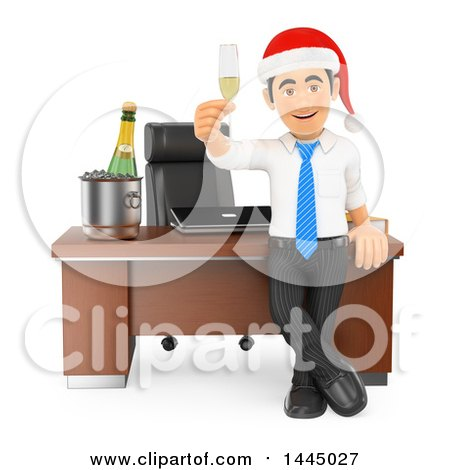 Clipart of a 3d Business Man Wearing a Santa Hat and Toasting with Champagne at an Office Christmas Party, on a White Background - Royalty Free Illustration by Texelart