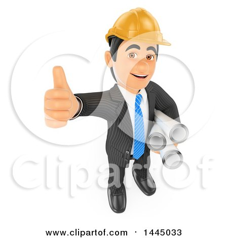 Clipart of a 3d Business Man, Entrepeneur or Engineer Architect Holding up a Thumb and Blueprints, on a White Background - Royalty Free Illustration by Texelart